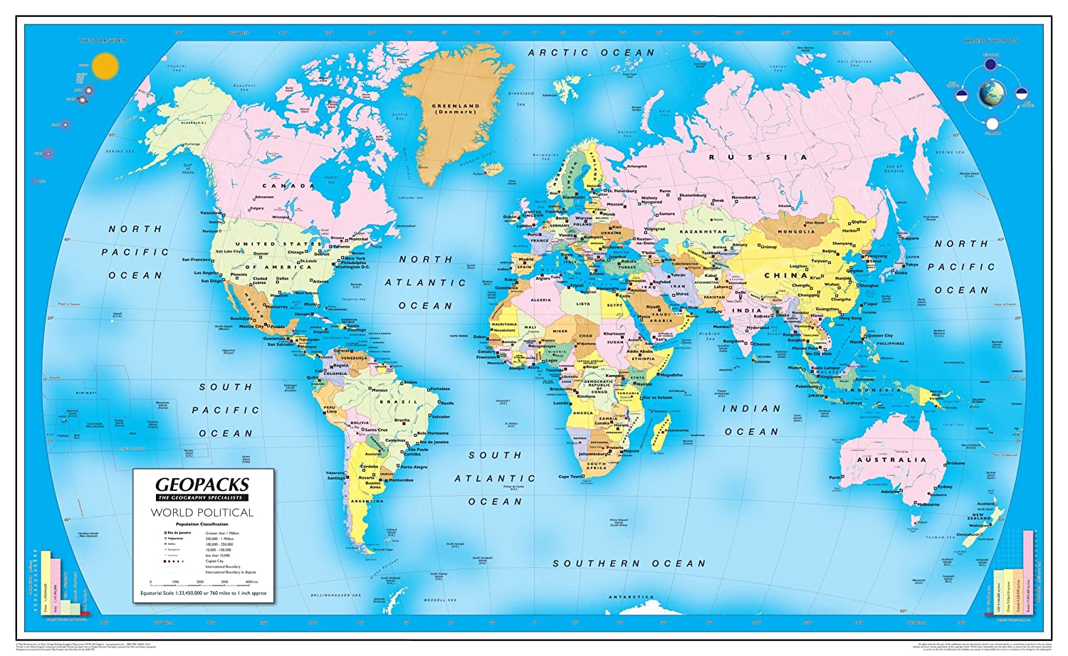 Amazon.com : Children\'s World Map - Reversible Laminated ...