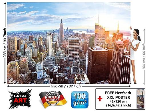 New York Penthouse Skyline Photo Wallpaper Manhattan Panorama View