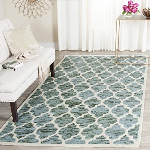 Safavieh Himalaya Collection HIM121C Handmade Turquoise and Ivory Premium Wool Area Rug 8' x 10'