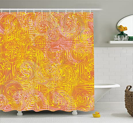 Modern Art Home Decor Shower Curtain By Ambesonne, Vivid Postmodern Pattern  With Swirls Authentic Assemblage