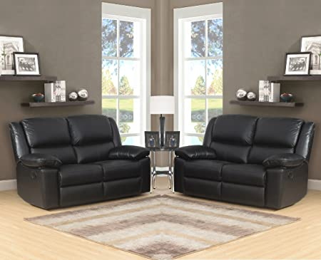 Black High Grade Leather Electric Reclining 2 Seater Sofa + ...