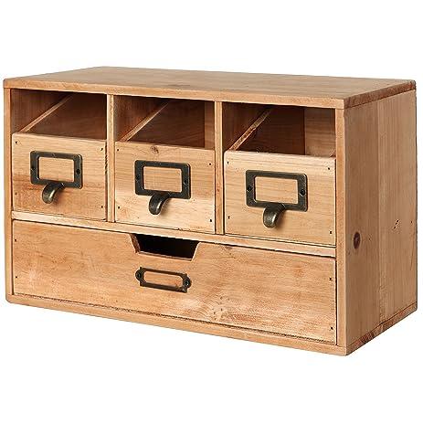 Amazon.com: Rustic Brown Wood Desktop Office Organizer Drawers ...