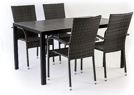 AVANTI TRENDSTORE Piave Set da Giardino Composto da 1 Tavolo Nero in Metallo e polywood, con 4 sedie impilabili in ecorattan di Colore Grigio