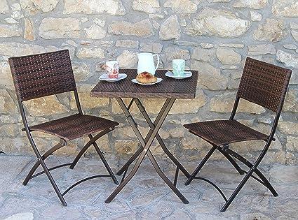 Homegarden Set Duetto Pieghevole Tavolo 2 Sedie In Polirattan Arredo Giradino Esterno Amazon It Casa E Cucina