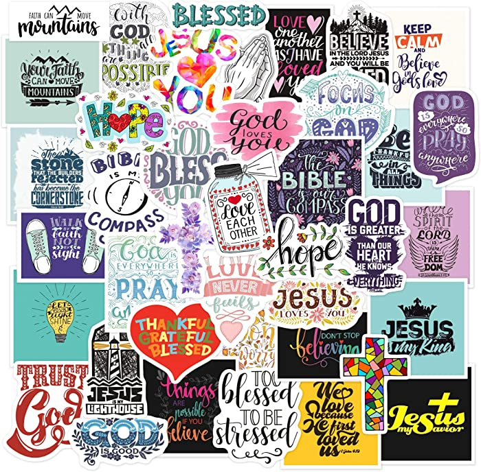 Christian Stickers Big 40-Pack. Religious,Bible,Faith Stickers. Jesus and Cross Stickers. Cute Bible Accessories and Christian Gifts