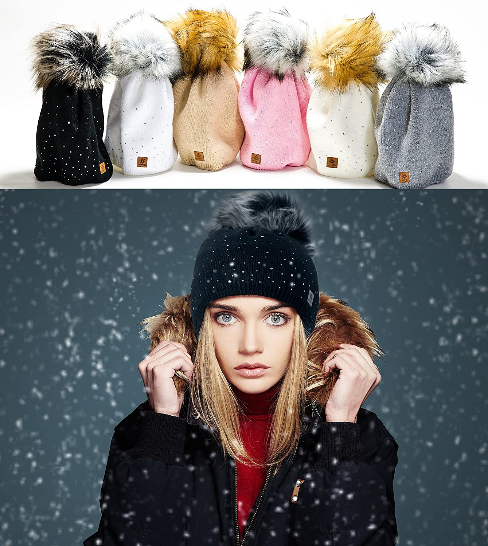 Winter Cappello Cristallo Più Grande Pelliccia Pom Pom invernale di lana  Berretto Delle Signore Delle Donne ingrandisci da9d6905d3ca