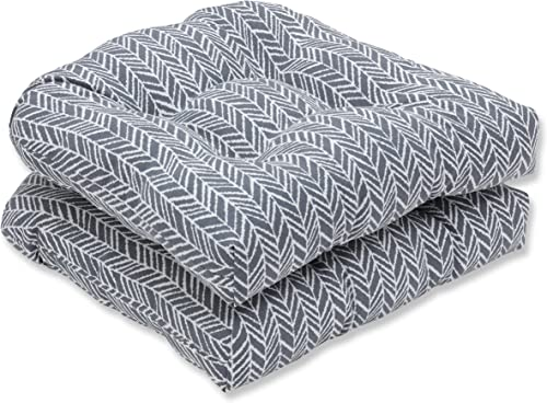 Pillow Perfect Outdoor Indoor Herringbone Slate Tufted Seat Cushions Round Back , 19 x 19 , Gray, 2 Pack