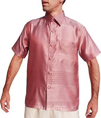 ac9901f73 RaanPahMuang Short Sleeve Northern Thai Silk Weave Mens Shirt European  Collar, Small, Pale Violet