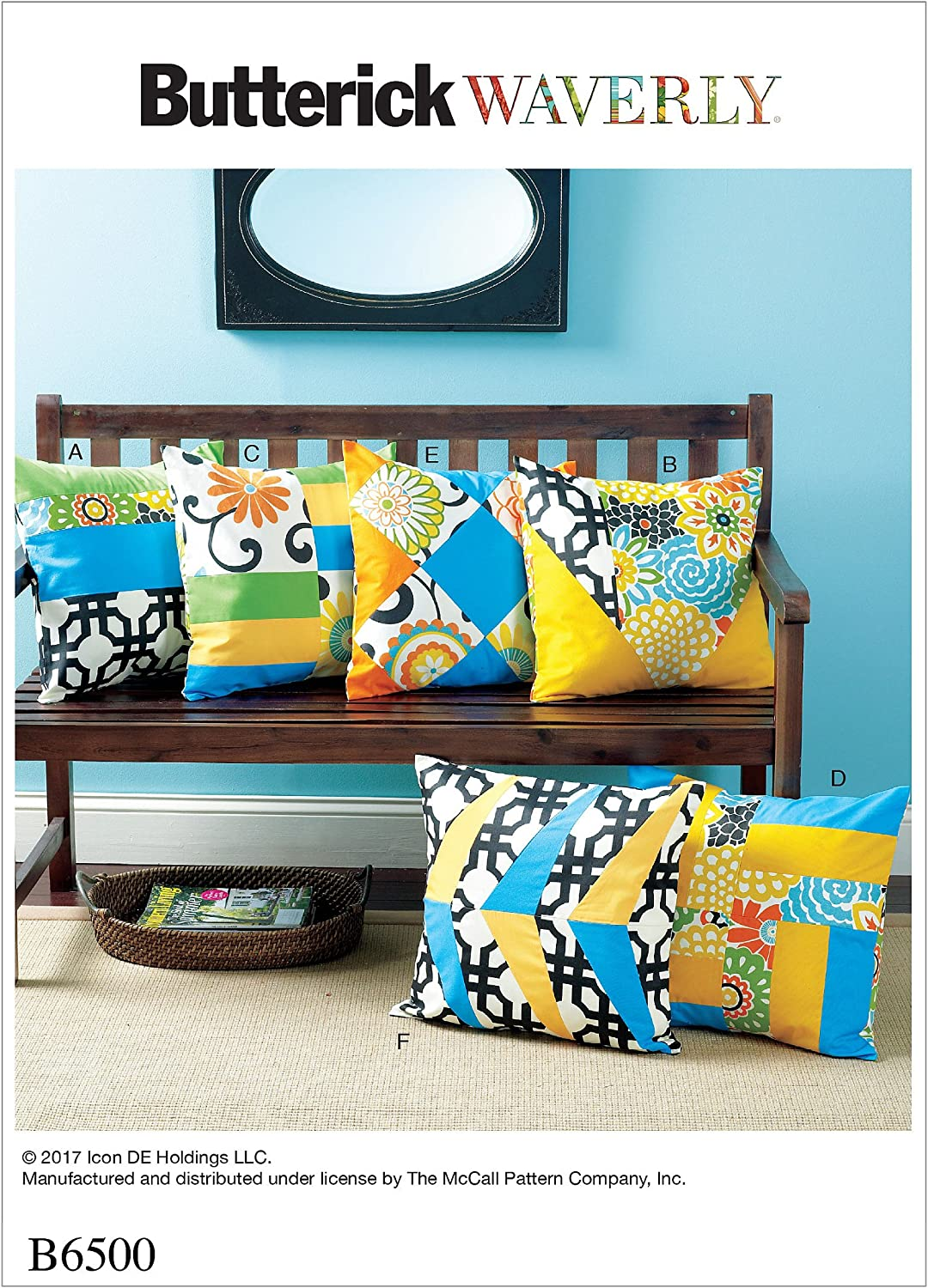 Butterick Patterns Pillow Covers with Contrast Front Sections Sewing Pattern, One Size