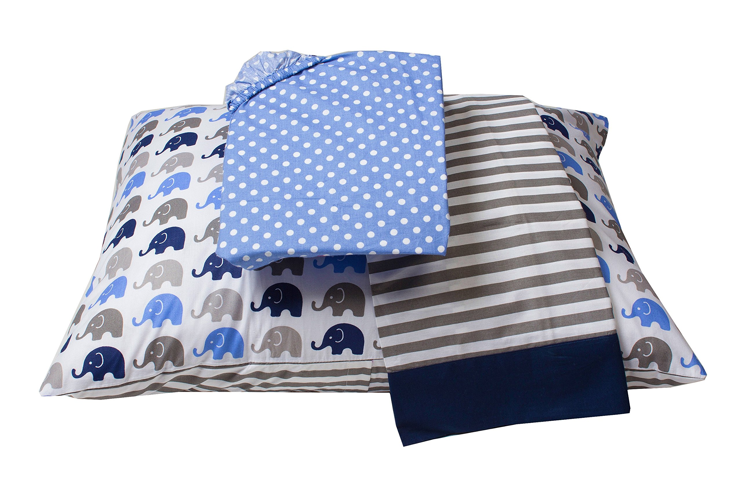 Bacati Elephants Blue/Grey Toddler 3 Piece Bedding Sheet Set