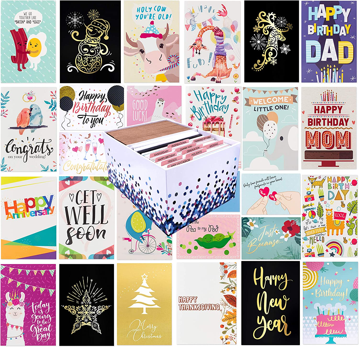 Amazon.com : 100 All Occasion Greeting Cards- 100 Eye Catching Designs with  Greeting Card Organizer Box- Friendship Cards, Anniversary Cards, BFF Cards,  Thanks Cards, Wedding Cards & More- 4 x 6 with 100 Envelopes : Office  Products