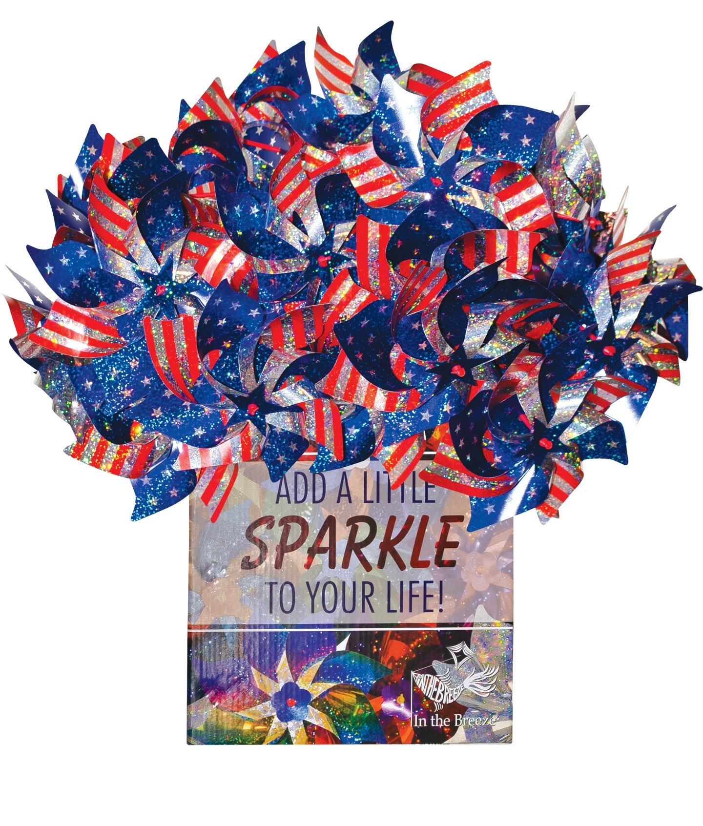 In the Breeze 48 Piece Stars & Stripes Pinwheel, 8'' (Pack of 6)