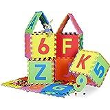 Relaxdays Spielmatte Puzzle 86 tlg, Puzzlematte Buchstaben u. Zahlen, EVA Schaumstoff Spielteppich BxT 180x180 cm, bunt