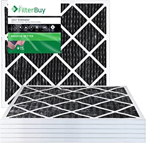 FilterBuy Allergen Odor Eliminator 14x18x1 MERV 8 Pleated AC Furnace Air Filter with Activated Carbon - Pack of 6-14x18x1