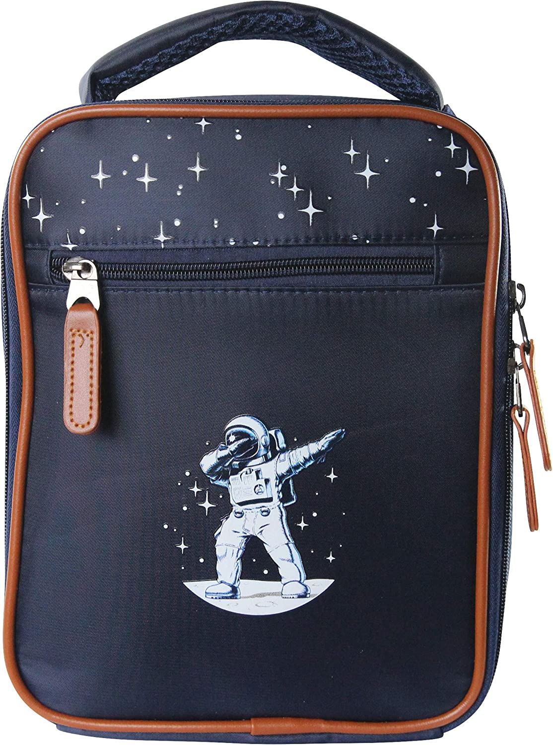 LUNCH BOX LUNCH BAG GALAXY DUBBING SPACE INSULATED COOLER THERMAL BAG FOOD CONTAINER SCHOOL PICNIC HIKE DABBING SPACEMAN ASTRONAUT STARS MOON DURABLE FOR KIDS
