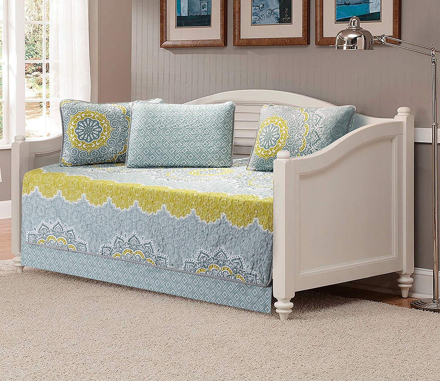 Linen Plus 5pc Daybed Cover Set Quilted Bedspread Floral Yellow Coastal Plain/Gray Green New