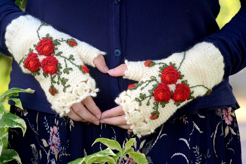 Knitted Fingerless Gloves, Gift Ideas, Winter Accessories, Ivory, Dark & light Red, Roses, Wool Gloves, Wool Arm Warmers, Crochet Gloves, gloves fingerless, gloves girls, gloves women winter