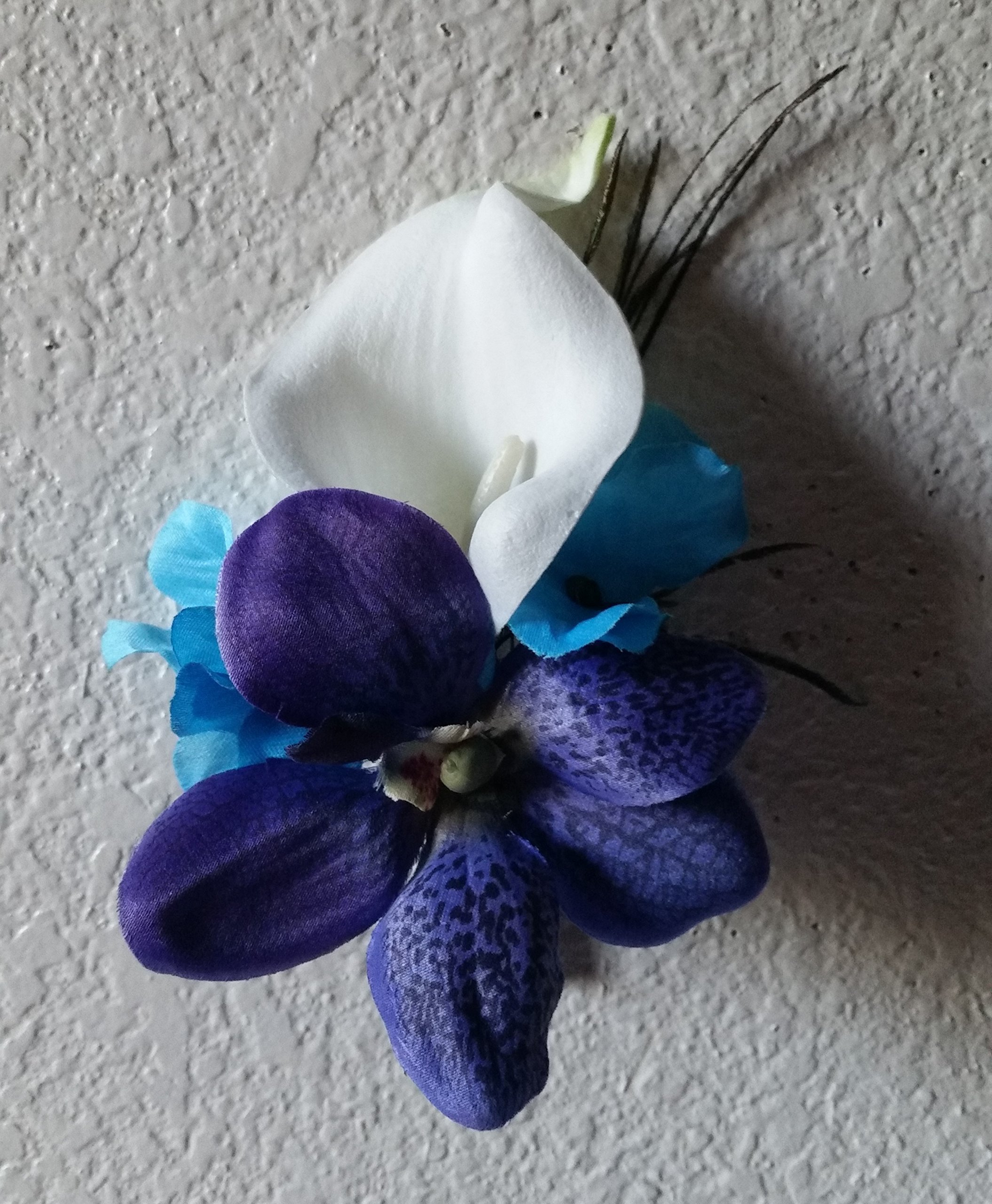 Purple-Blue-Turquoise-Orchid-Calla-Lily-Bridal-Wedding-Bouquet-Boutonniere
