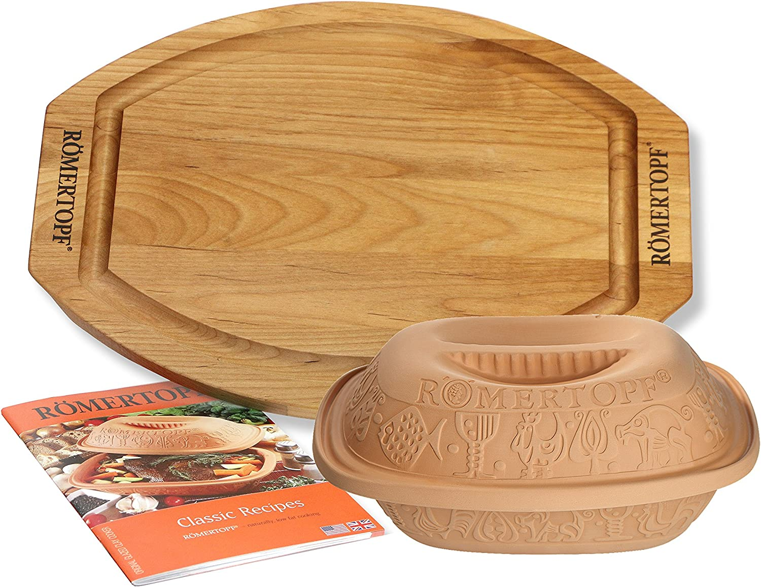 Romertopf Classic Clay Cooker Set with Cutting Board and Cookbook, 1.5 quart, Natural