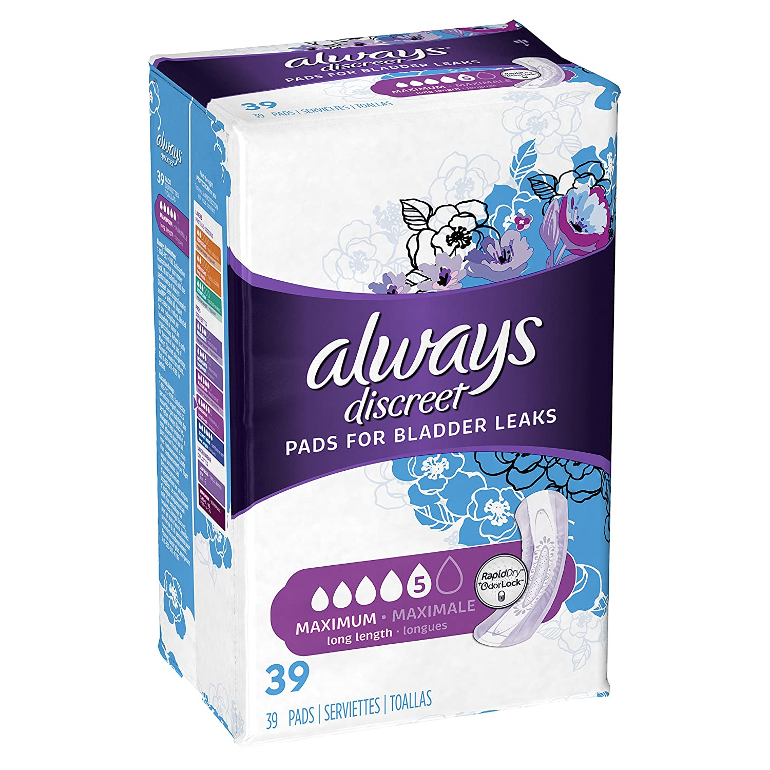 Amazon.com: Always Discreet, Incontinence Pads, Maximum, Long Length, 39 Count: Prime Pantry