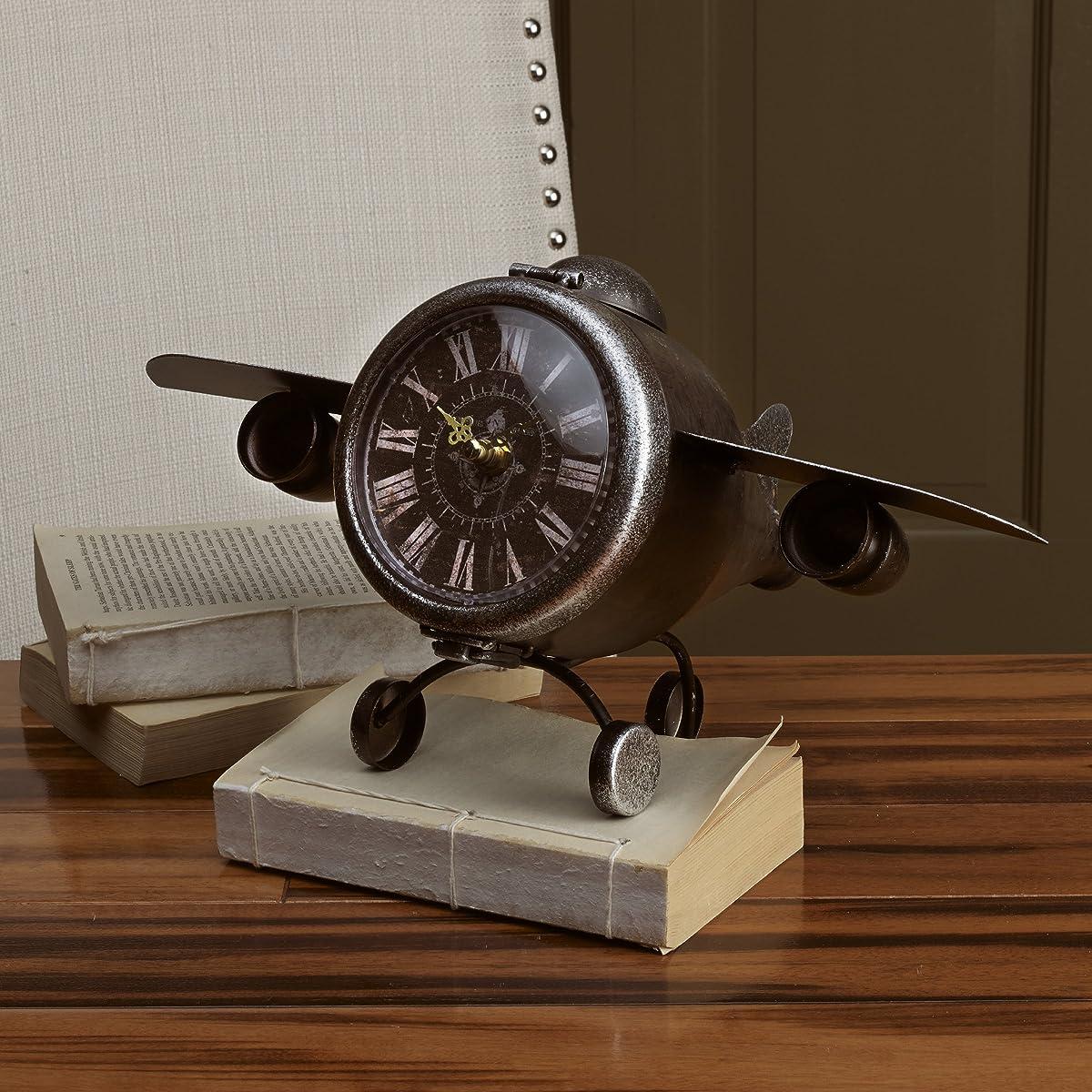 "Elements Metal Airplane Table Clock, 7.5"""