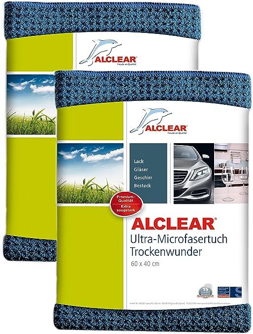 Alclear Auto Microfasertuch Trockenwunder Für Autopflege 2er Set Autolack Motorrad Küche U Haushalt Microfaser Geschirrtuch Weiches Trockentuch 60x40 Cm Blau Auto