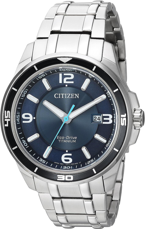Citizen Homme 42mm Bracelet & Boitier Titane Argent Quartz Montre BM6929 56L