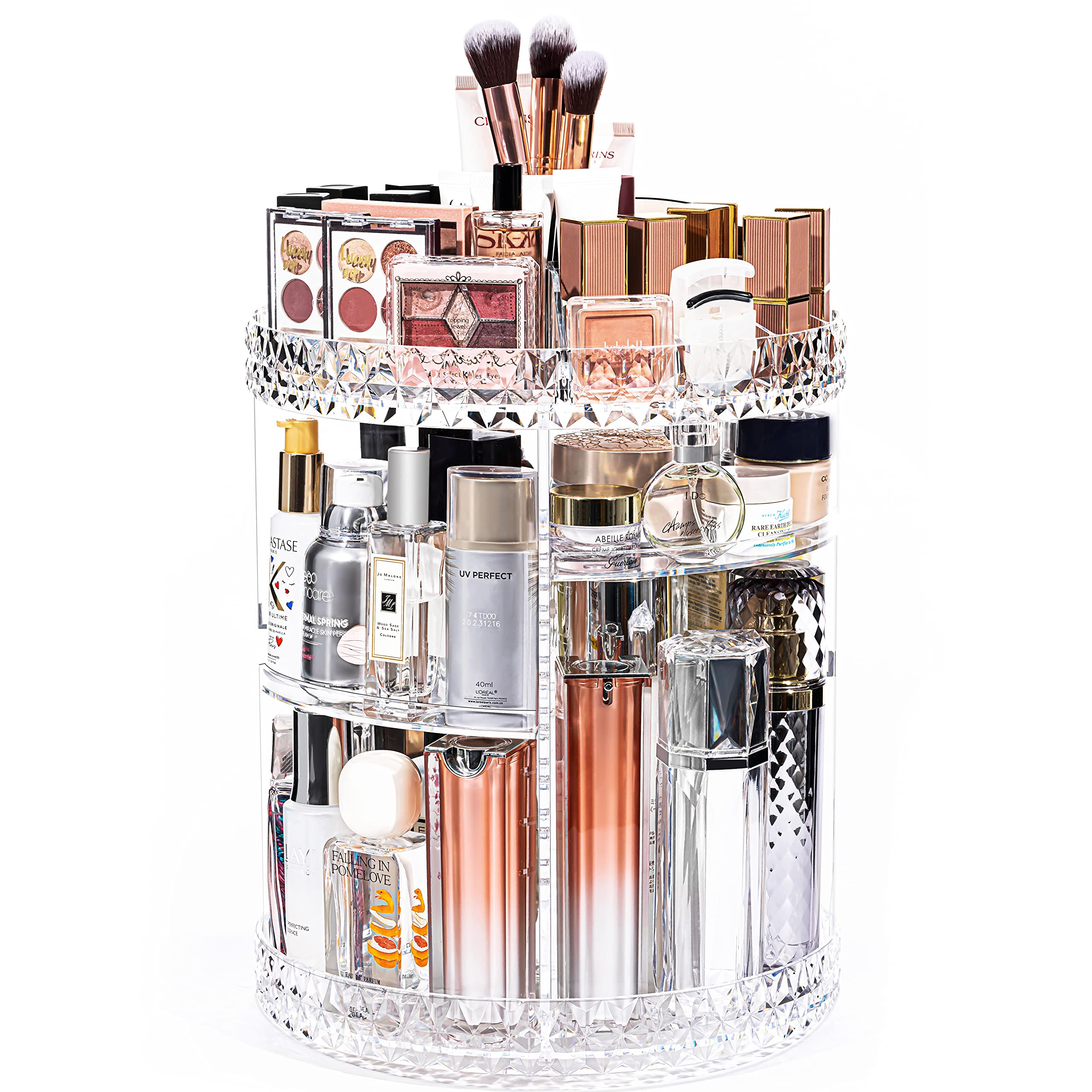 DreamGenius Makeup Organizer, 360 Degree Rotating Cosmetic Storage Organizer, 7-Layer Adjustable Makeup Display Case, Fits Jewelry, Makeup Brushes, Lipsticks, Gift for Wife Women, Clear Acrylic