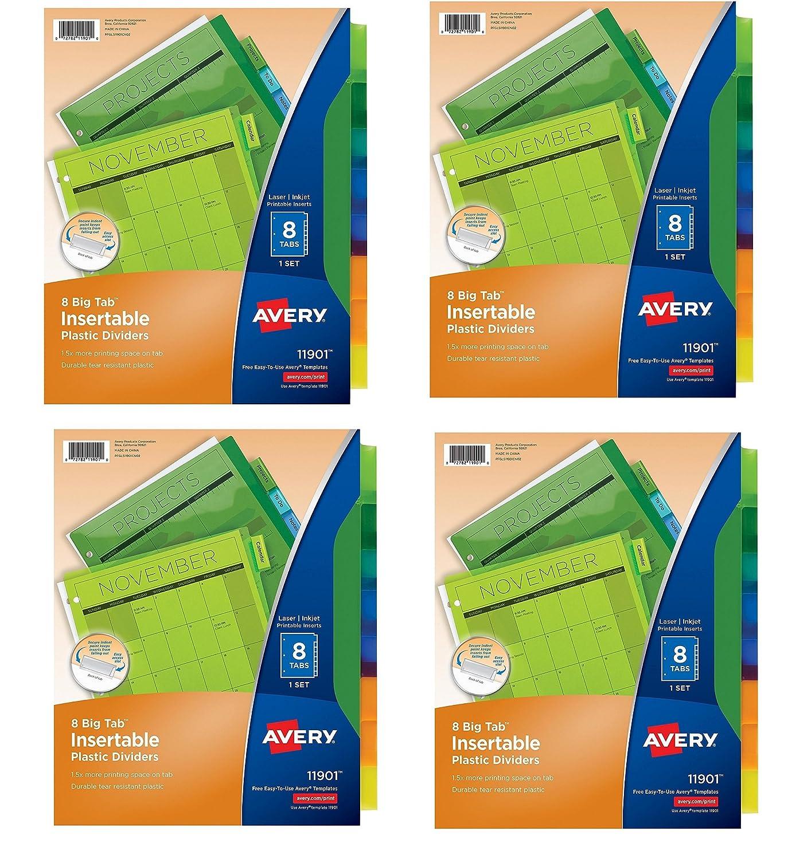amazoncom avery big tab insertable plastic dividers 8 tabs fyeyqs 4 pk 71901 home kitchen