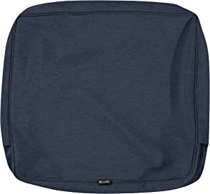 Classic Accessories Montlake Water-Resistant 25 x 18 x 4 Inch Patio Back Cushion Slip Cover, Heather Indigo Blue