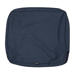 Classic Accessories Montlake Patio Back Cushion Slip Cover, Heather Indigo, 21x20x4