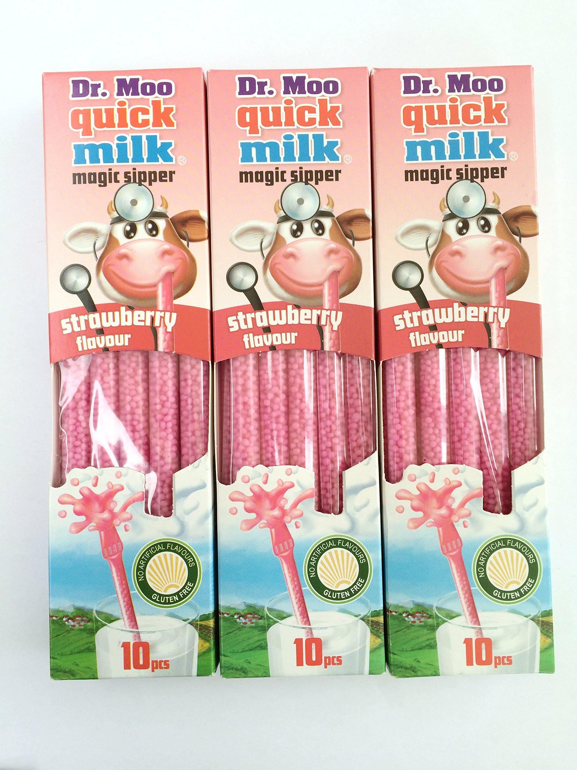 Dr Moo Magic Milk Magic Sipper Straws. Strawberry Flavour 3 x Packs (30 straws)