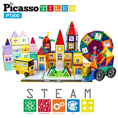 PicassoTiles 300pc Master Builder Magnetic Building Block Construction Set with Ferris Wheel, 3-in-1 Theme, Castle Click-in, 28 Educational Alphabet Animal and Number Graphic Card, Car Truck Windmill: Toys & Games