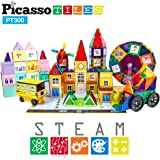PicassoTiles 300pc Master Builder Magnetic Building Block Construction Set with Ferris Wheel, 3-in-1 Theme, Castle Click-in, 28 Educational Alphabet Animal and Number Graphic Card, Car Truck Windmill
