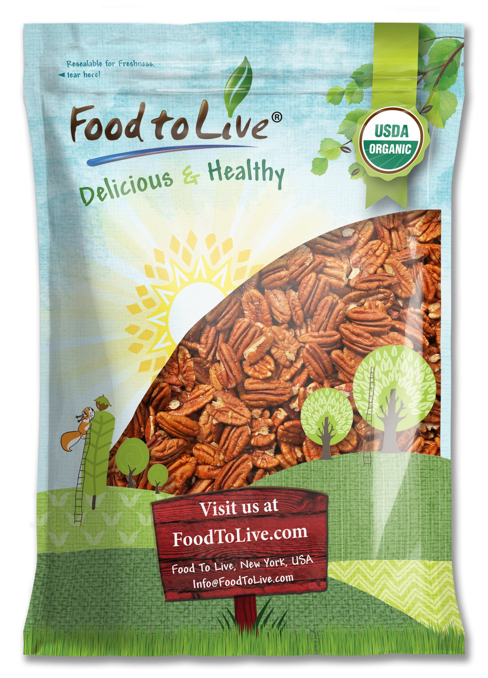 Organic Pecans, 6 Pounds - Non-GMO, Kosher, Raw, Vegan, No Shell by Food to Live