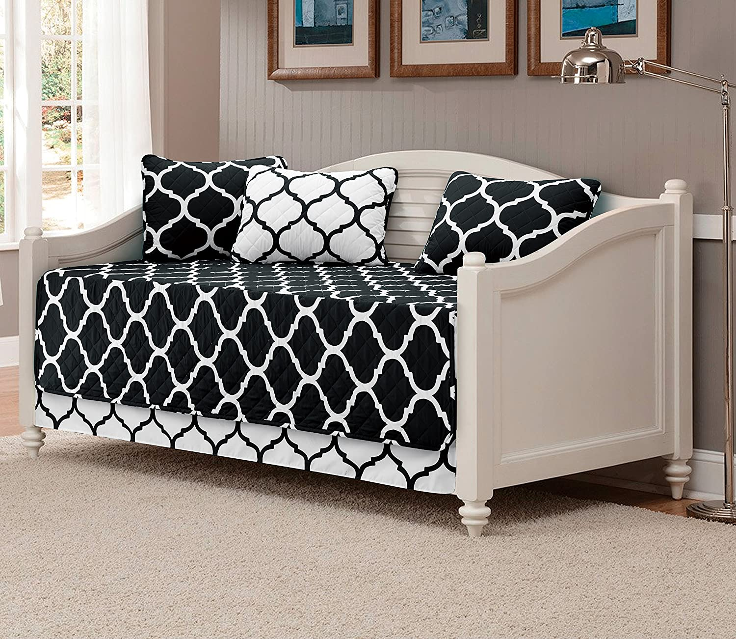 Mk Collection 5pc Modern Elegant Bedspread DayBed Cover Set Black//White Geometric Contemporary Pattern Quilted New
