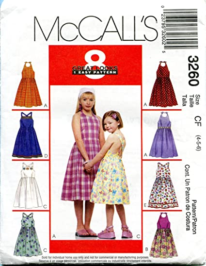 Amazon.com: McCall\'s Sewing Pattern 3260 Size CF (4-5-6) Children\'s ...