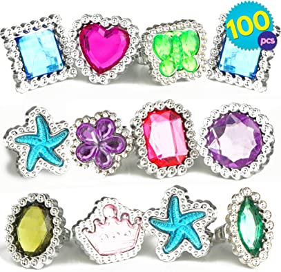24 x Assorted Rings Party Bag Filler Girls Costume Dress Up Gift Jewelry