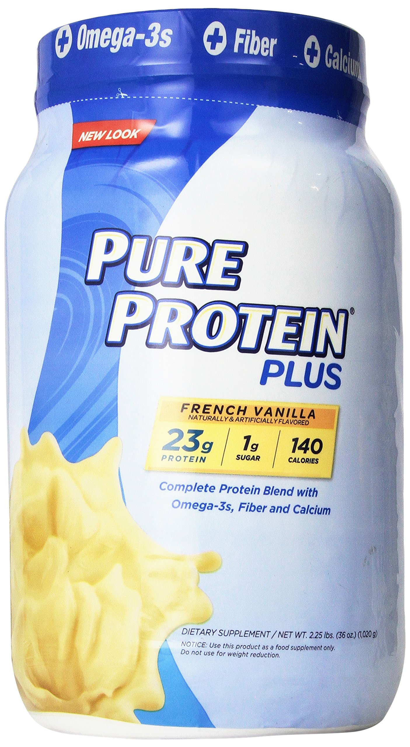 Pure Protein Plus, Protein Blend with Whey, French Vanilla Flavor (2.25lbs)