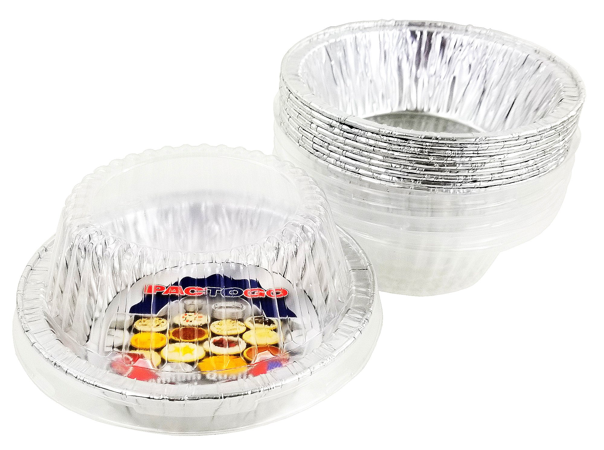Pactogo Disposable Aluminum 5 3/4'' Meat Pot Pie Extra Deep Pan Baking Tin w/Clear Dome Lid (Pack of 50 Sets)