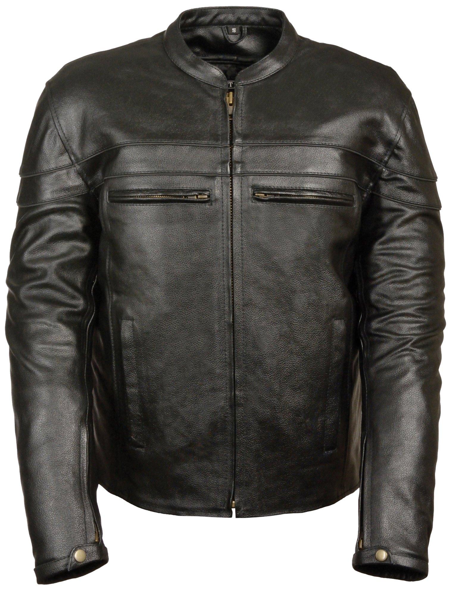 Event Biker Leather Men's Split Leather Vented Scooter Jacket (Black, Large)