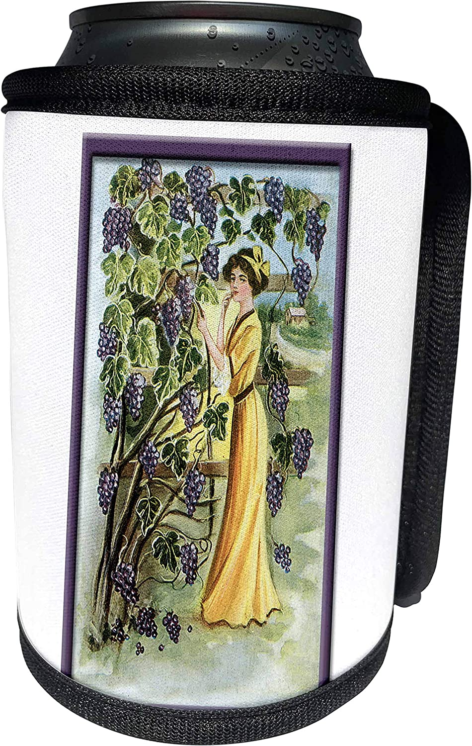 3dRose BLN Vintage Food and Drink Labels and Posters - Vintage Victorian Woman in a Vineyard of Purple Grapes - Can Cooler Bottle Wrap (cc_149266_1)