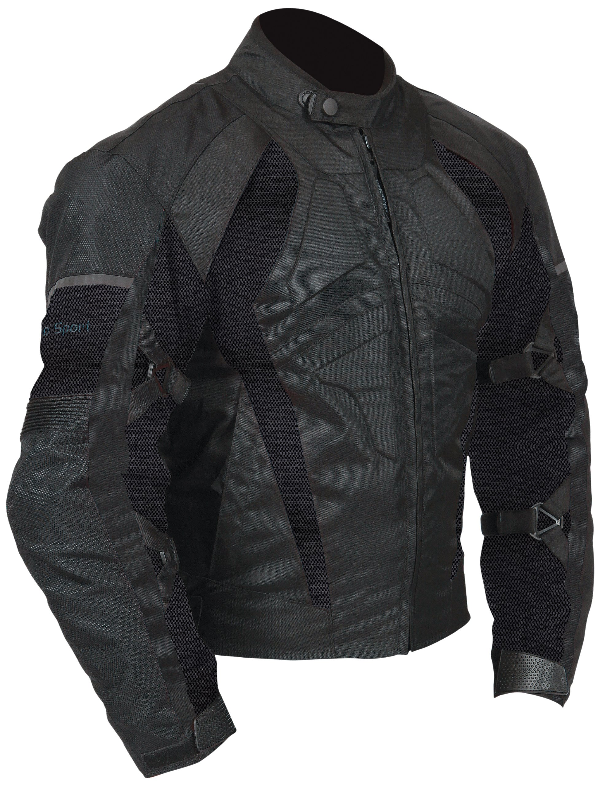 Milano Sport Gamma Motorcycle Air Jacket with Black Mesh Panel (Black, Large) by Milano Sport (Image #1)