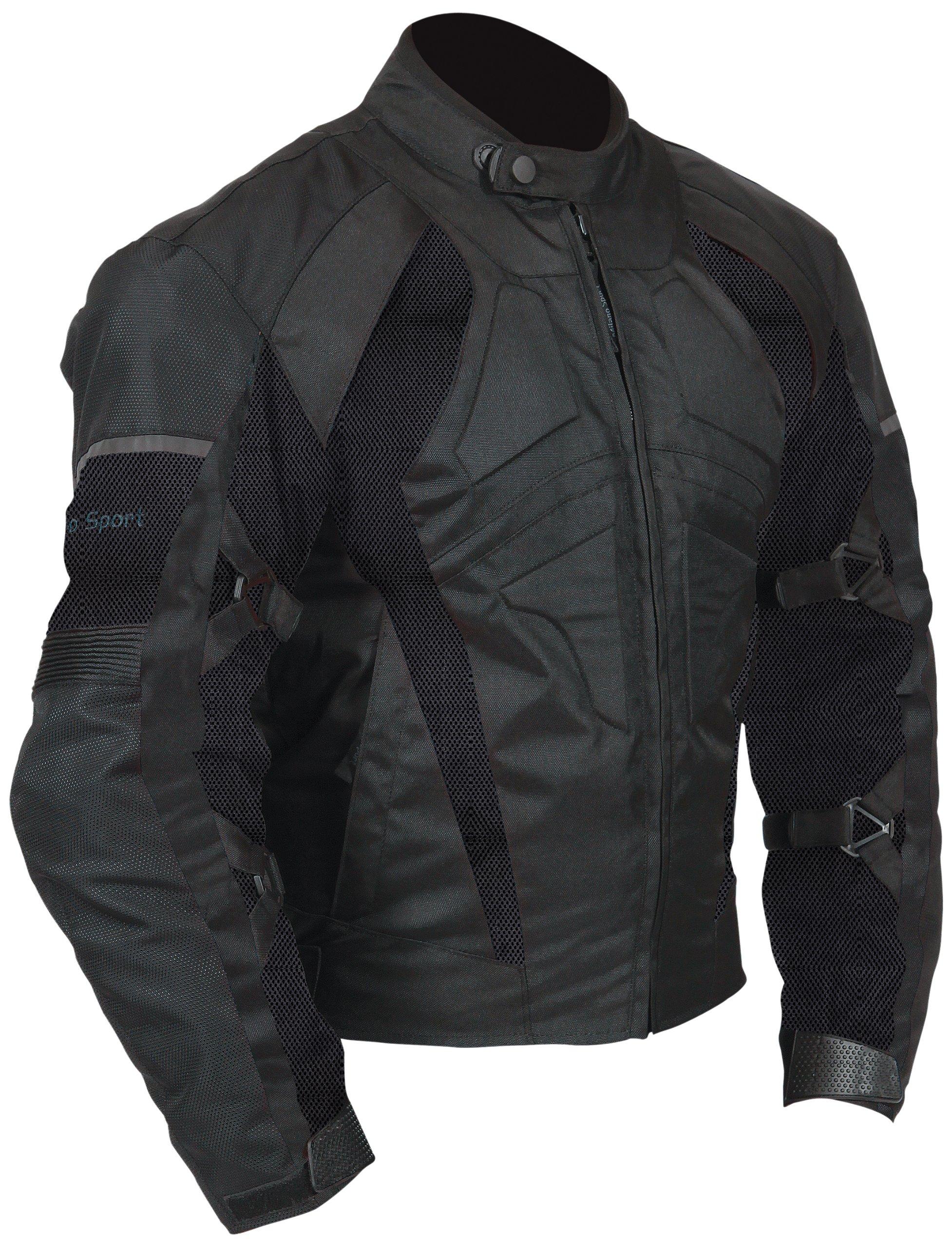 Milano Sport Gamma Motorcycle Air Jacket with Black Mesh Panel (Black, Large)
