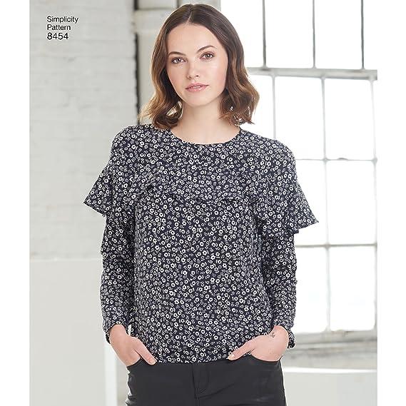 Simplicity Pattern 8454 patrones de costura para blusas con manga y (Variaciones (tamaño 6 - 14) patrón de costura para: Amazon.es: Juguetes y juegos