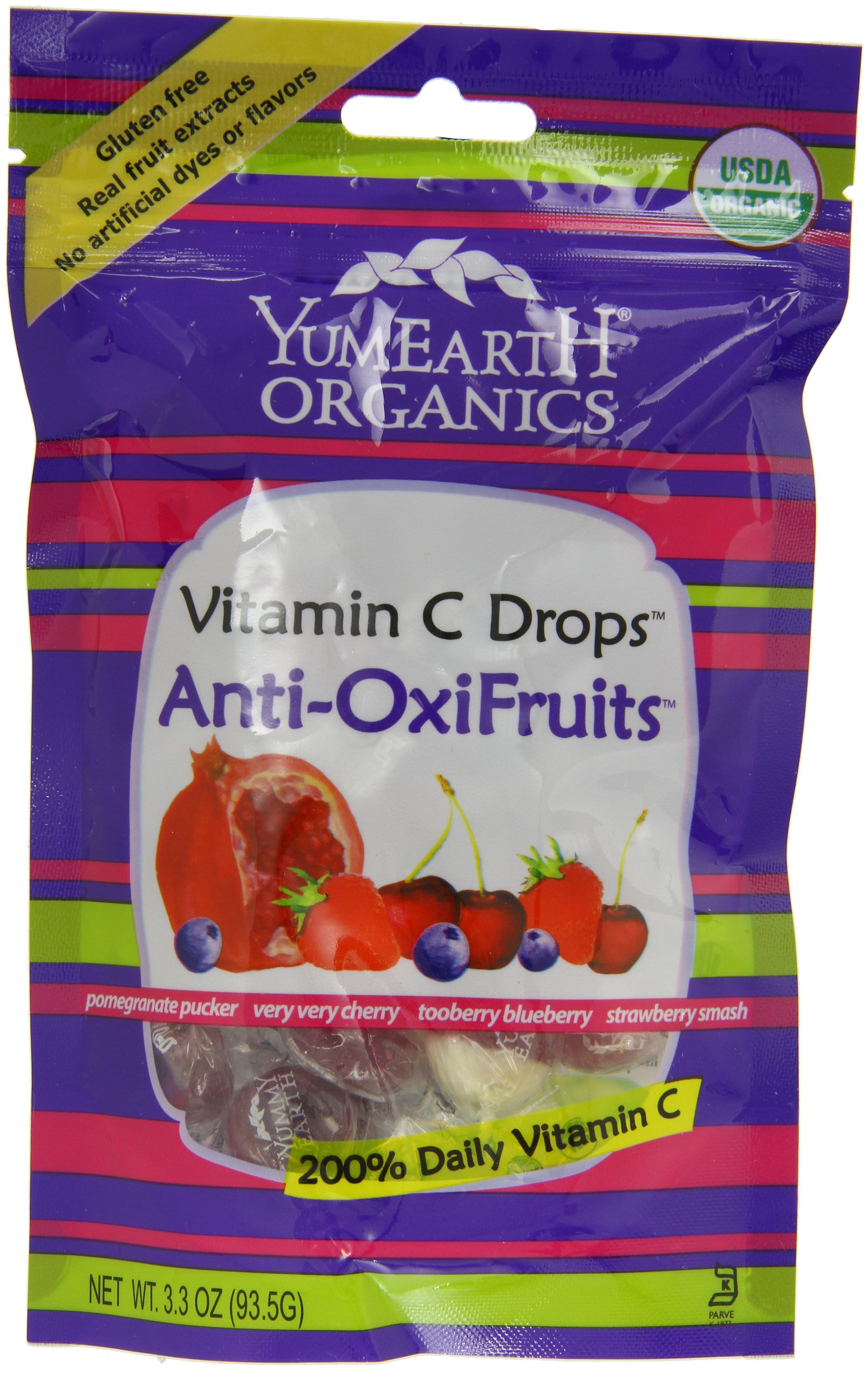 Yummy Earth Prganics Vitamin C Drops Anti Oxifruits, 3.30 Oz (Pack of 6)