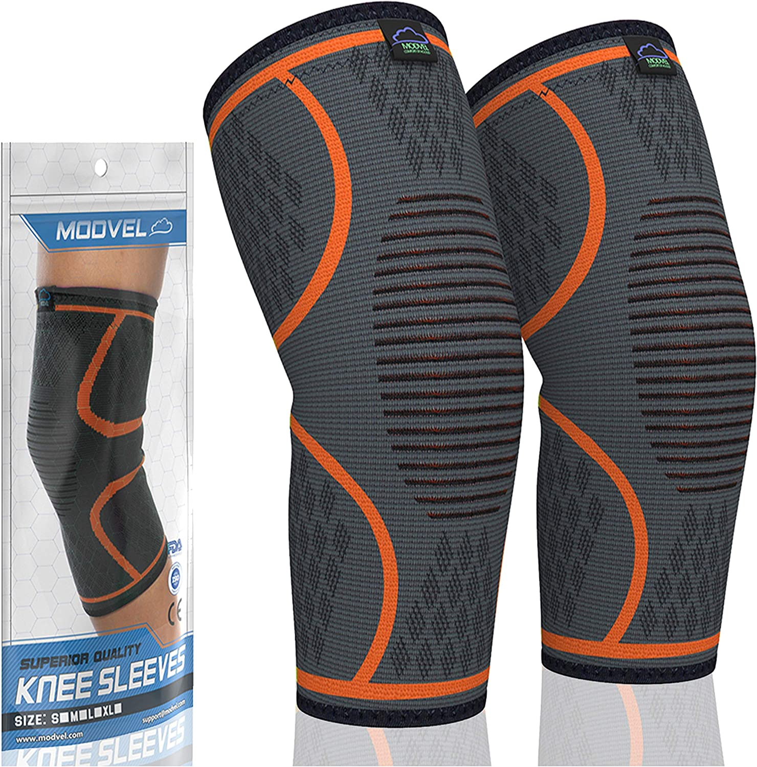 Modvel 2 Pack Knee Compression Sleeve | Knee Brace for Men & Women | Knee Support for Running, Basketball, Weightlifting, Gym, Workout, Sports | Joint Pain Relief - Please Check Sizing Chart