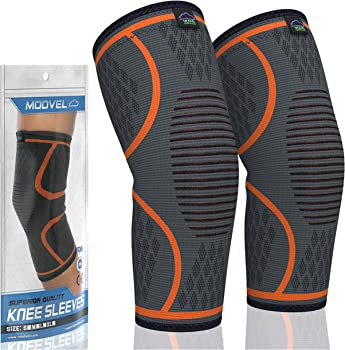 Modvel Athletic Knee Brace Support Compression Sleeves (Pair)