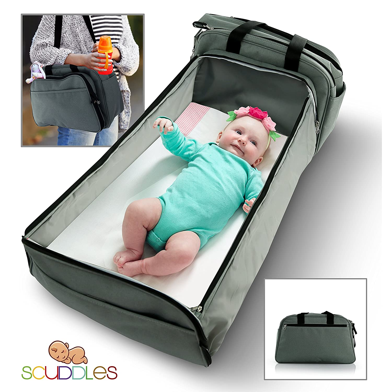Scuddles Portable 3 in 1 Organizer Tote Bag - Toddler Travel Size Bassinet with Foldable Crib Pad Mattress & Diaper Changing Station - Gender Nuetral Color for Mom Dad Baby Girl or Boy Sound Around SC-FDB-02