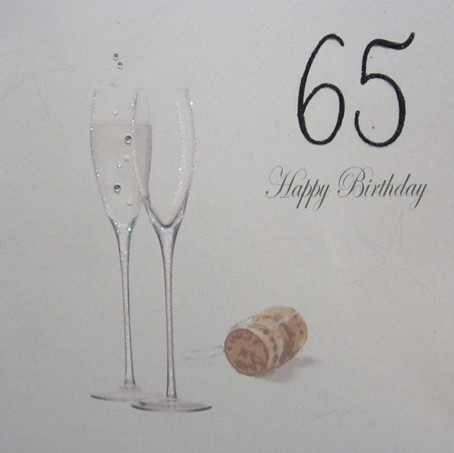 WHITE COTTON CARDS 65 Happy Birthday Handmade 65th Birthday Card with Champagne Design, Black pdc65-black